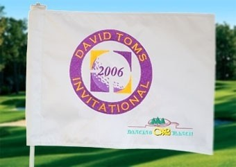 Custom Embroidered Golf Flag Plus Sponsor - stand out