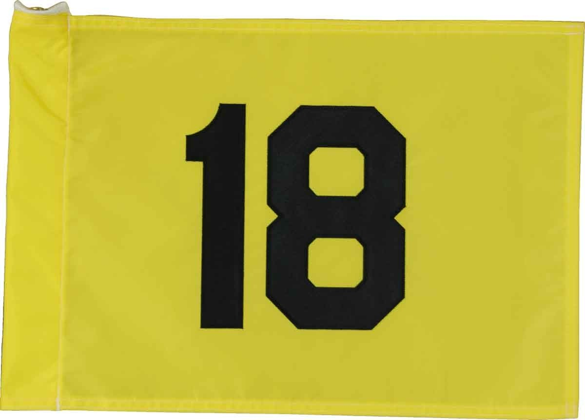 Yellow Golf Course Flag with Black Number - Regulation Size