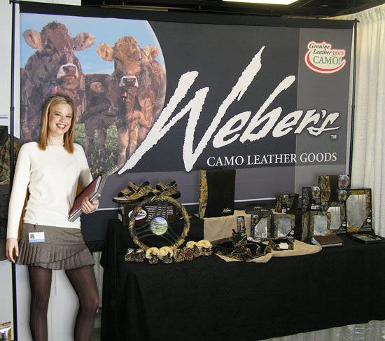 Weber's Camo Leather Goods Backdrop And Stand