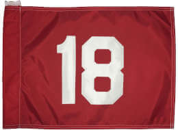 Red Golf Course Flag with White Number